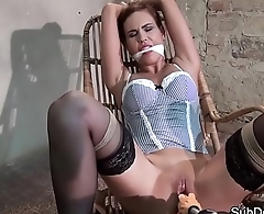 Restrained submissive orgasms during BDSM