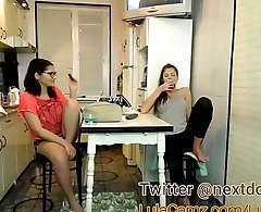 Masturbates While Her Friends In The Other Room and Goes Back In! MUST WATCH