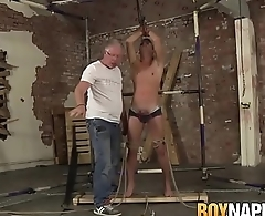 Tied up Cameron James cums load after hardcore treatment