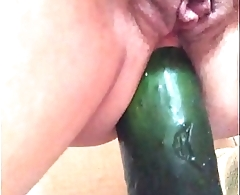 My sub slut ridding cucumber anal 2