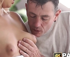 Young cheater receives rough anal thrusts by older man dick
