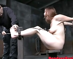 Submissive MILF gets her feet canned