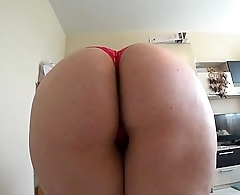 A beautiful bbw jumps on a dildo and shaking a big butt in panties.