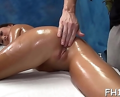 Hot 18 year old girl gets fucked hard from behind by her masseur