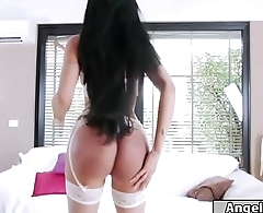 Sexy tgirl Juliana Soares gives blowjob and bareback analed