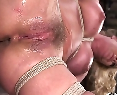 Clapmed thongue and hairy pussy blonde
