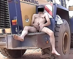 Horny builder busts a nut barefoot naked