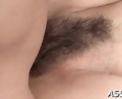 Asian chick shares her butt hole in racy sexy threesome sex