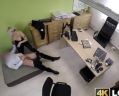 Busty short haired babe bounces on loan agent dick wildly