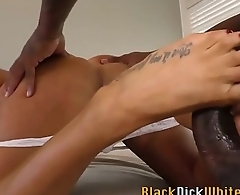 Busty babe gives foot tug