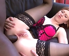 Teen redhead gets pounded in her ass by black man and she swallows cum