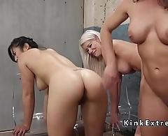 Asian and blonde getting enema threesome