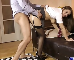 Seductive UK schoolgirl cocksucking a senior