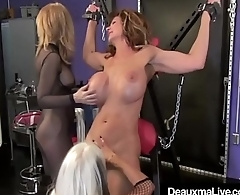 Cougar Deauxma Whipped In Cage &amp_ On Cross By Nina &amp_ Sally!
