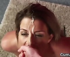 Flirty looker gets cum load on her face gulping all the love juice