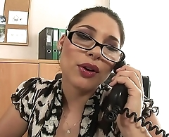 Busty sexy secretaries Katalin and Zafira tongue fuck each other'_s tight cunt at work