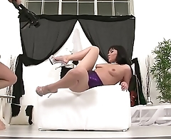 The vicious Asian Ilona, fucks hard with her dildo and a big fist, double penetration