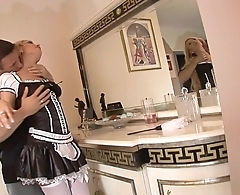 Hung stud gets head from his gorgeous French maid Donna Bell then fucks her