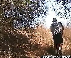 Amateur teen gives head outdoors before fucking in bed