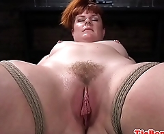 Bondage redhead sub whipped and pussytoyed