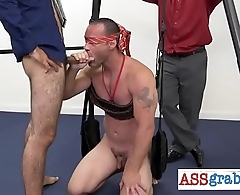 Blindfolded pal doing taste test with cock