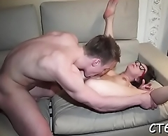 Hot and excited wench happily receives multiples of orgasms