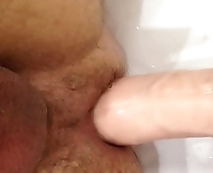 Huge Dildo Deep and Painful Anal Insertion