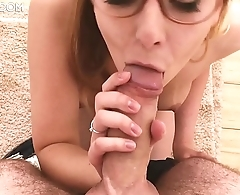 Cute Girl with Babyface in glasses Gives Blowjob and gets huge messy Cumshot and Facial - RosieSkywalker