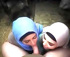 Amateur Arab Whore Team Sucking Dick Together On Army Base