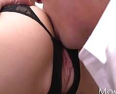 MOM Sexy Russian MILF in erotic black lingerie and high heels