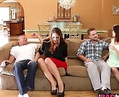 Miss Raquel rides her milf wet pussy on Kyle Masons hard young cock on top!